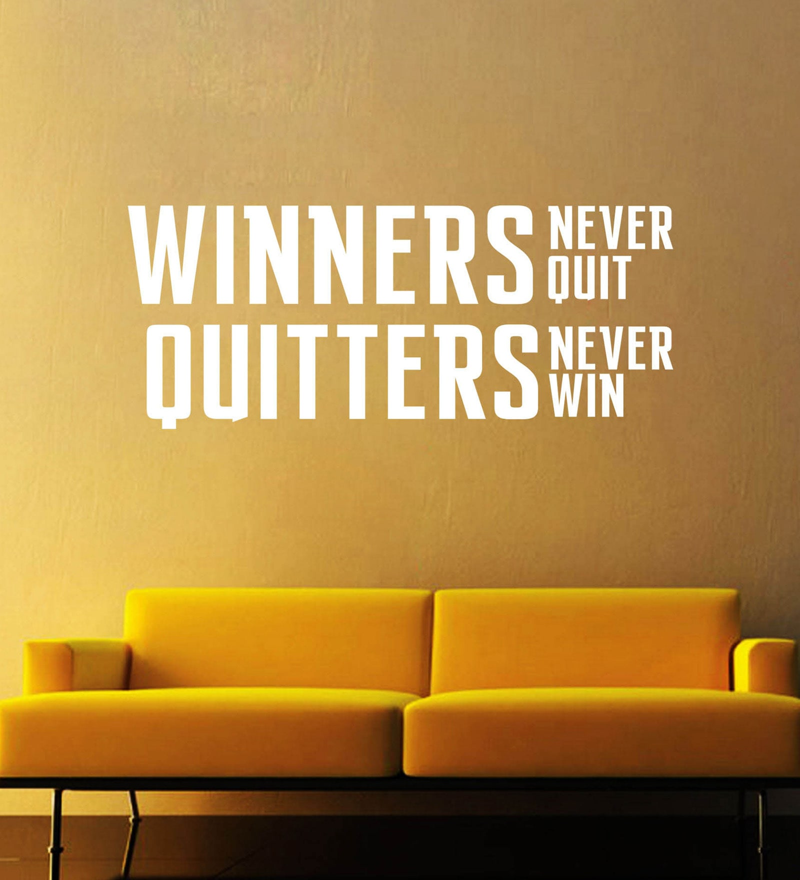 Vinyl Winners Never Quit Wall Sticker in White by Creative Width