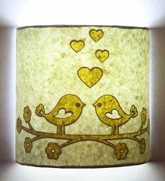 Craftter Cream & White Handmade Paper Love Bird Wall Lamp