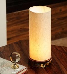 Cream Polyvinyl Brownie Elephant Madhubani Hand Painted Table Lamp