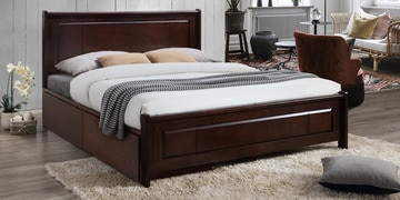Isamu Queen Size Bed With Drawer Storage In Milan Walnut Finish