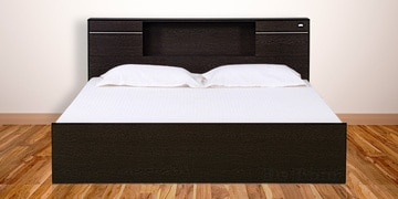 Crystal Queen Size Bed With Box Storage In Wenge Finish