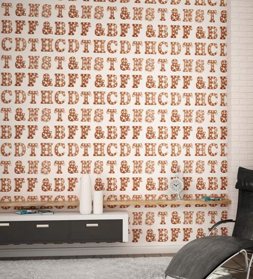 Cream Brown Alphalites Wallpaper Nilaya Wall Coverings By Asian Paints