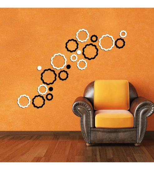 Creative width abstract flowers acrylic black white 3d wall art sticker small 20 pcs