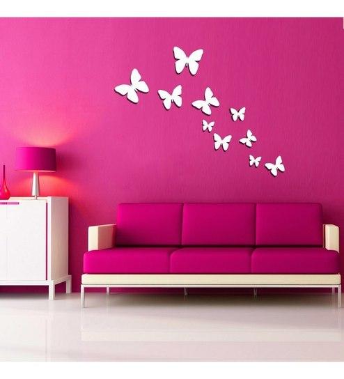 creative width butterflies acrylic white 3d wall art sticker - 10