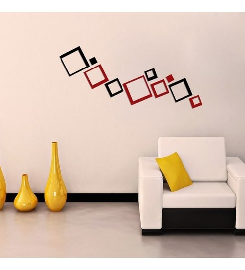Creative Width Consquare Acrylic Black Red 48D Wall Art Sticker Delectable 3D Home Interior Design Online Creative