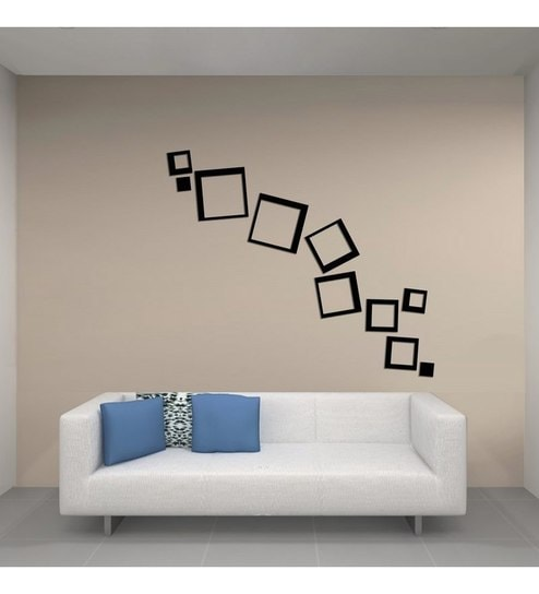 Perfect Creative Width Consquare Acrylic Black 3D Wall Art Sticker Small   10 Pcs