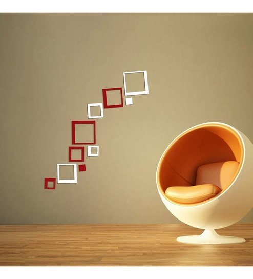 ... Creative Width Consquare Acrylic White Red 3d Wall Art Sticker ... Part 95