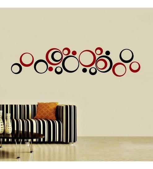 creative width polka acrylic black & red 3d wall art sticker small