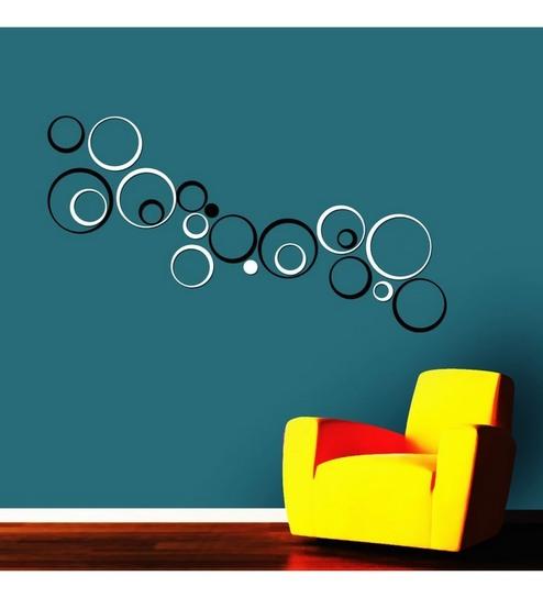 Creative Width Acrylic Black White Circle Design 3D Wall Art Sticker Large
