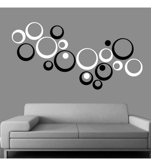 Creative width polka acrylic black white 3d wall art sticker small 20 pcs