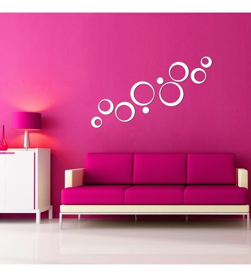 Creative Width Polka Acrylic White 3D Wall Art Sticker Small - 10 ...