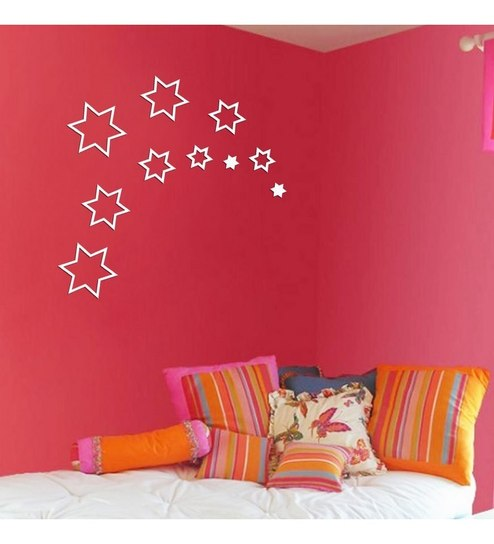 Creative Width Stars Acrylic Black U0026 Red 3D Wall Art Sticker Small   10 Pcs Part 90