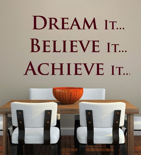 Buy Vinyl Dream It Believe It One Wall Sticker In Burgundy By Awesome Design Dream Home Online Creative