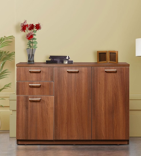 Buy Credenza Cabinet Sideboard With 3 Drawers In Walnut Finish By