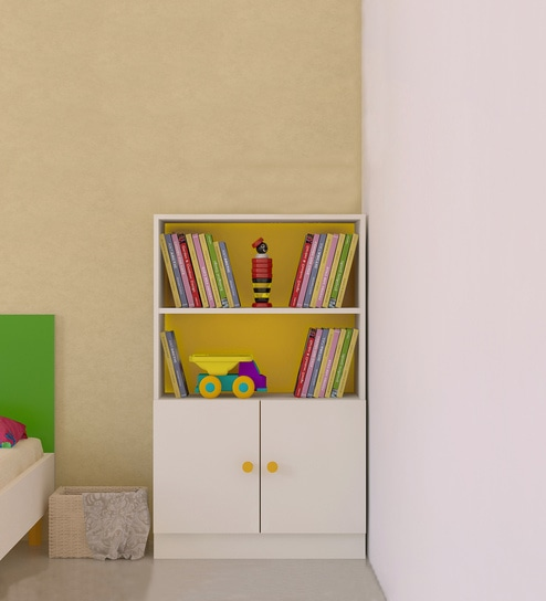Credenza Kid S Storage Cabinet Bookshelf In Mango Yellow Finish By Adona Online Kids Cabinets Furniture Pepperfry