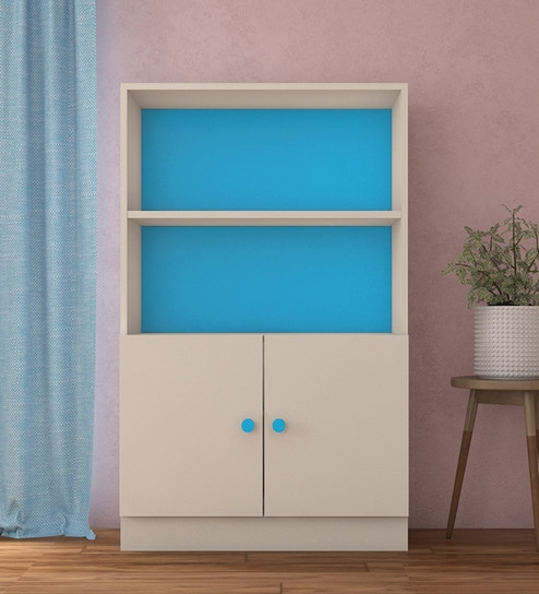 low priced 4d003 c5555 Credenza Large Storage-Cum-Bookshelf in Azure Blue Colour by Adona