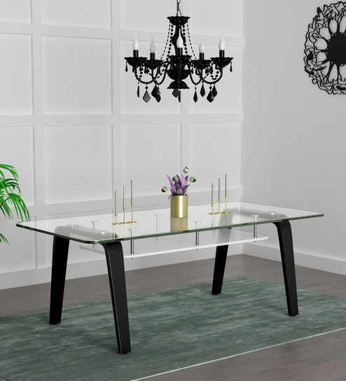 Buy Crescent Eight Seater Dining Table In Dark Chocolate Colour By