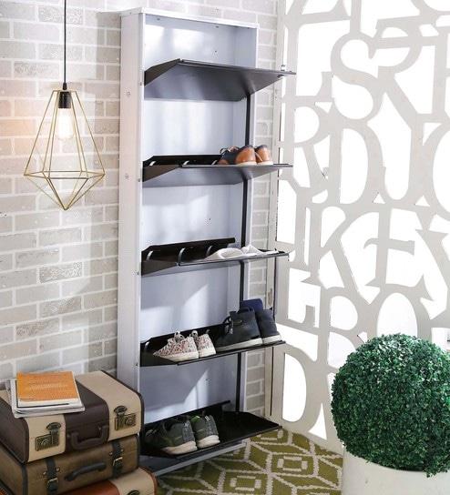Five Door Metal Shoe Rack In Brown And White By Crust