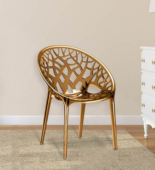 Cane Sofa In Pune: Buy Crystal Designer Chair In Golden Colour By Nilkamal
