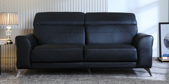 Cristobal 3 Seater Sofa In Black Colour By Casacraft
