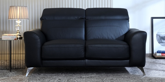 Cristobal 2 Seater Half Leather Sofa in Black Colour by CasaCraft
