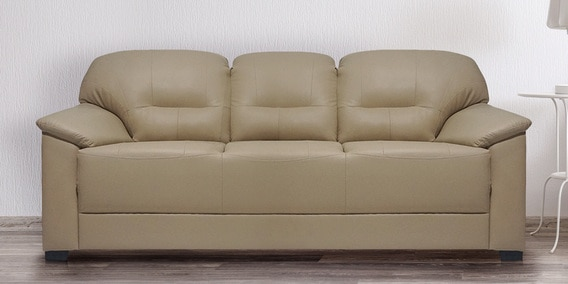 Buy Croma Three Seater Sofa In Light Beige Leatherette By Muebles