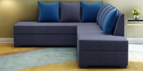 Crown Lhs Sofa With Cushions In Grey Blue Colour By Muebles Casa