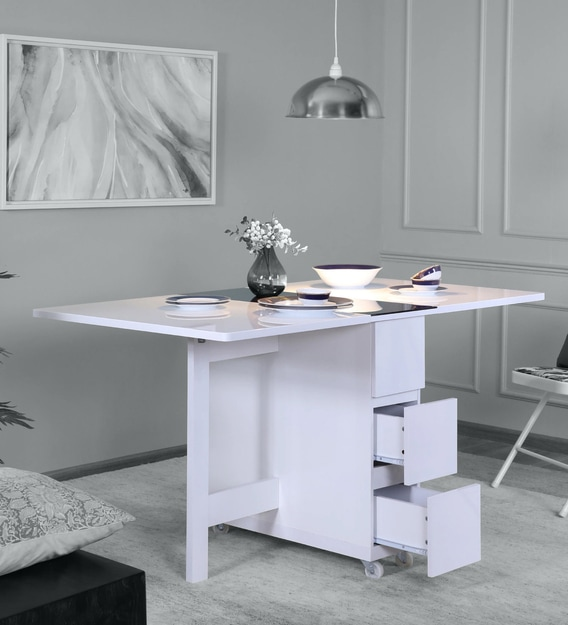 Buy Crystal Folding 6 Seater Dining Table In White Colour By Space Genie Online Modern 6 Seater Dining Tables Dining Furniture Pepperfry Product
