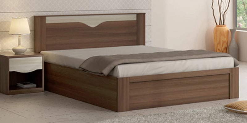 Buy Kosmo Crescent Queen Size Bed With Box Storage In Dark