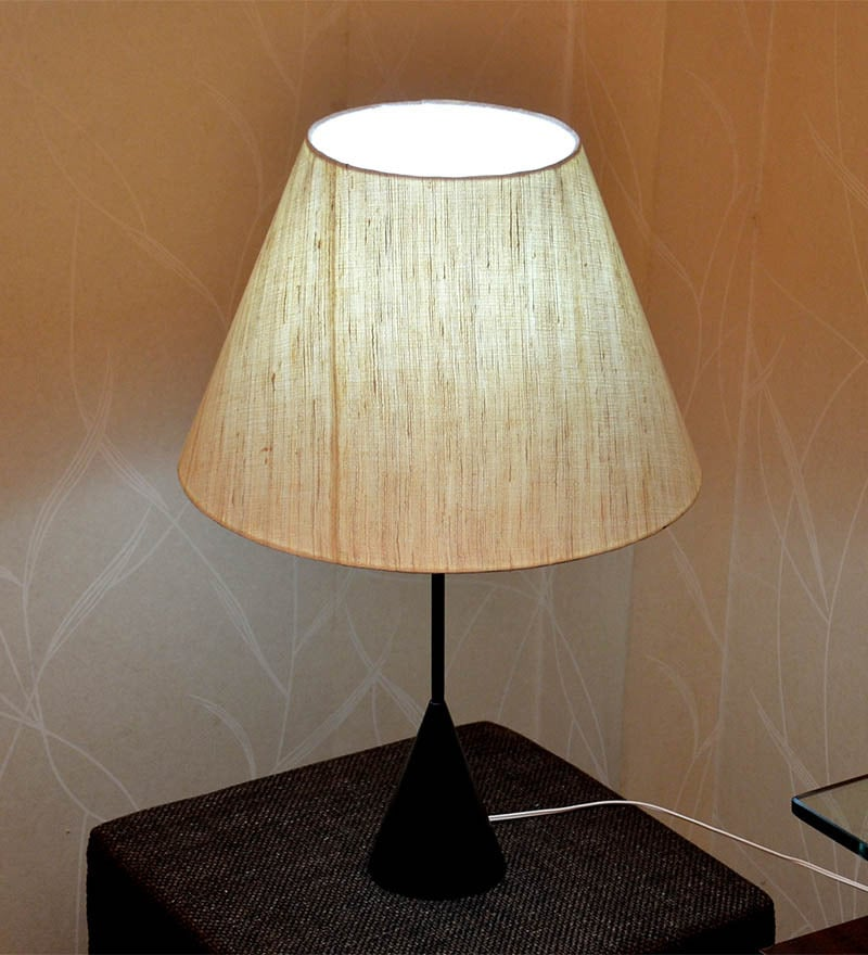 Cream Textured Metal Base Table Lamp by Craftter