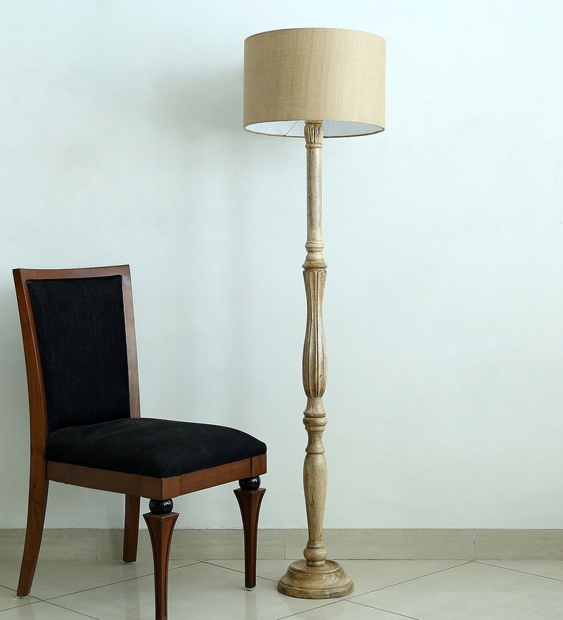 Handloom Brown Fabric Floor Lamp by Craftter