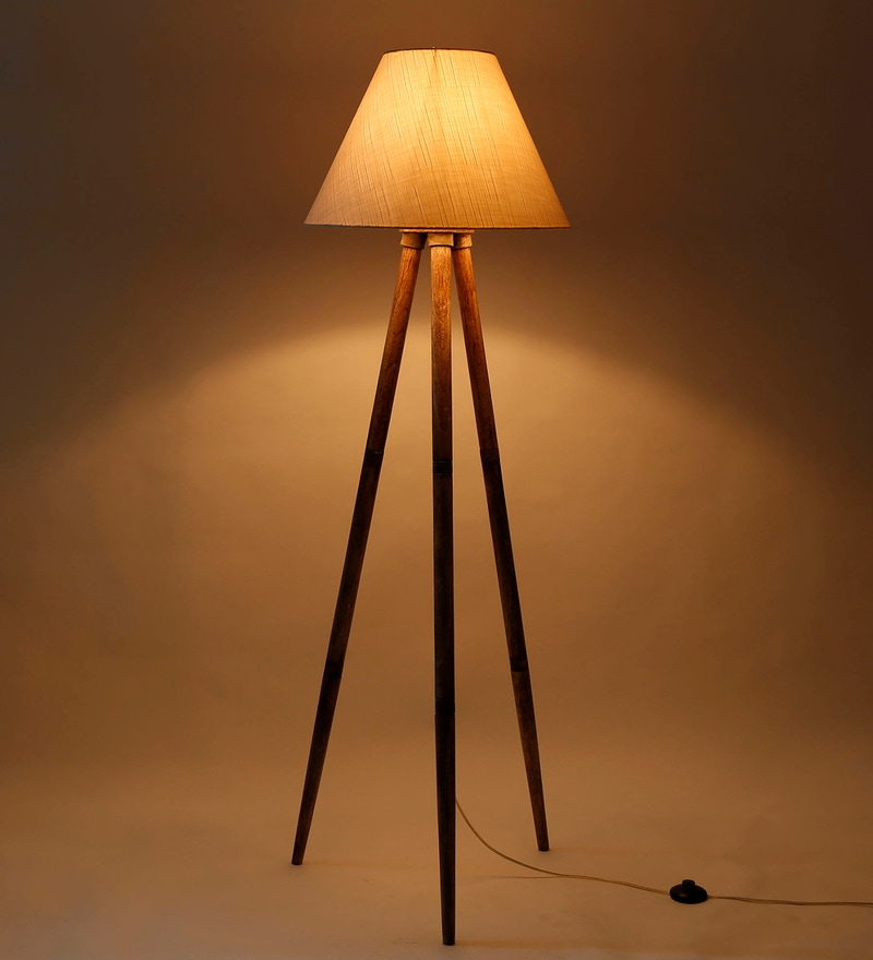 Off White Fabric Tripod Floor Lamp by Craftter