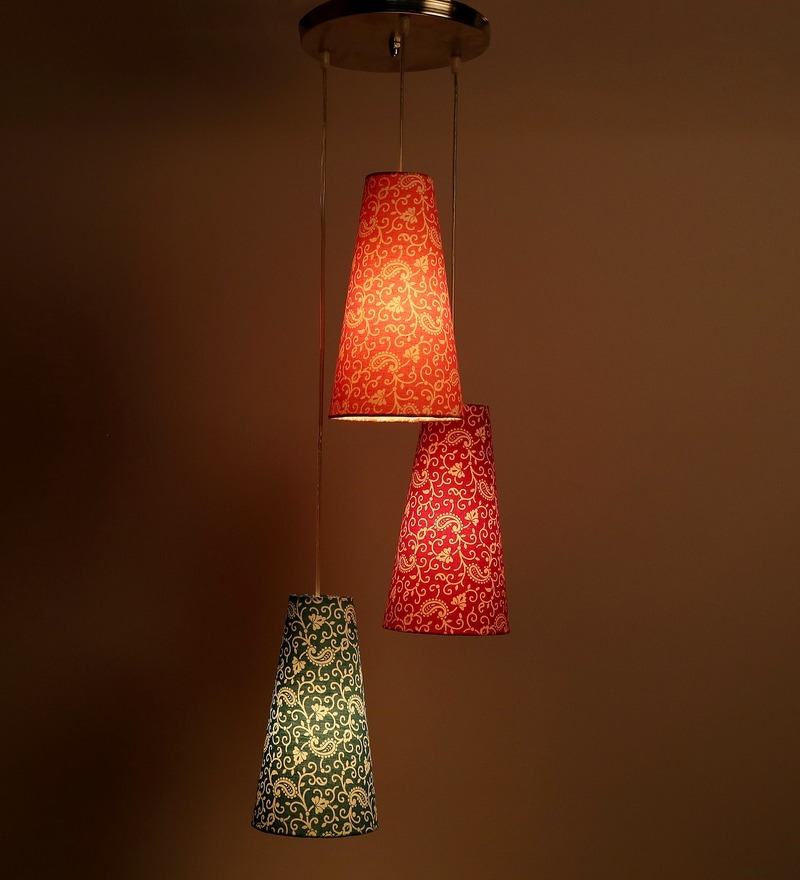 Set Of 3 Traditional Keri Design Orange, Red And Green Color Hanging Lamp by Craftter