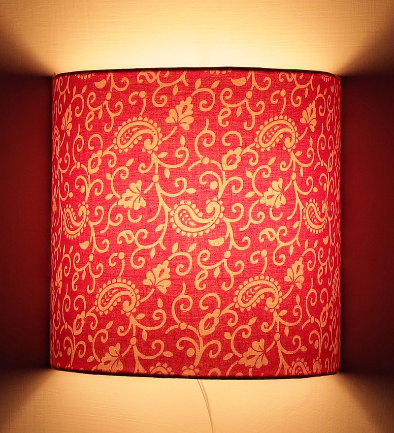Traditional Keri Design Pink Half Shade Fabric Wall Lamp by Craftter