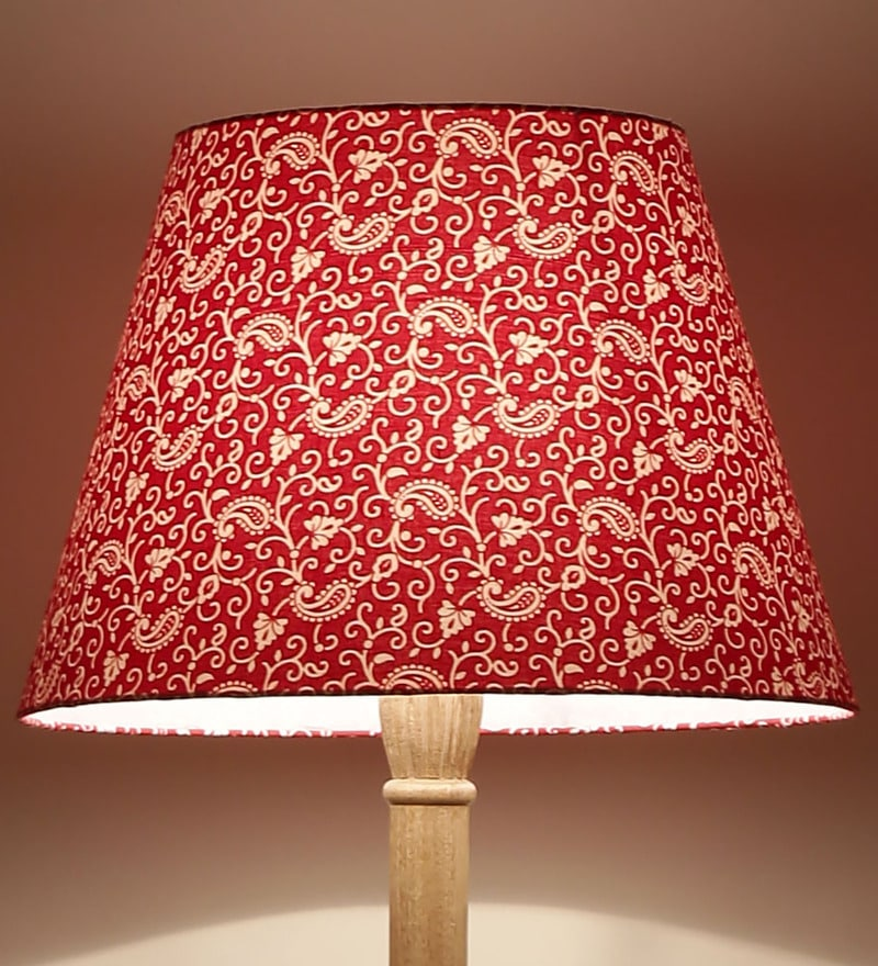 Red Acrylic Fused with Cloth Traditional Keri Floor Lamp Shade by Craftter