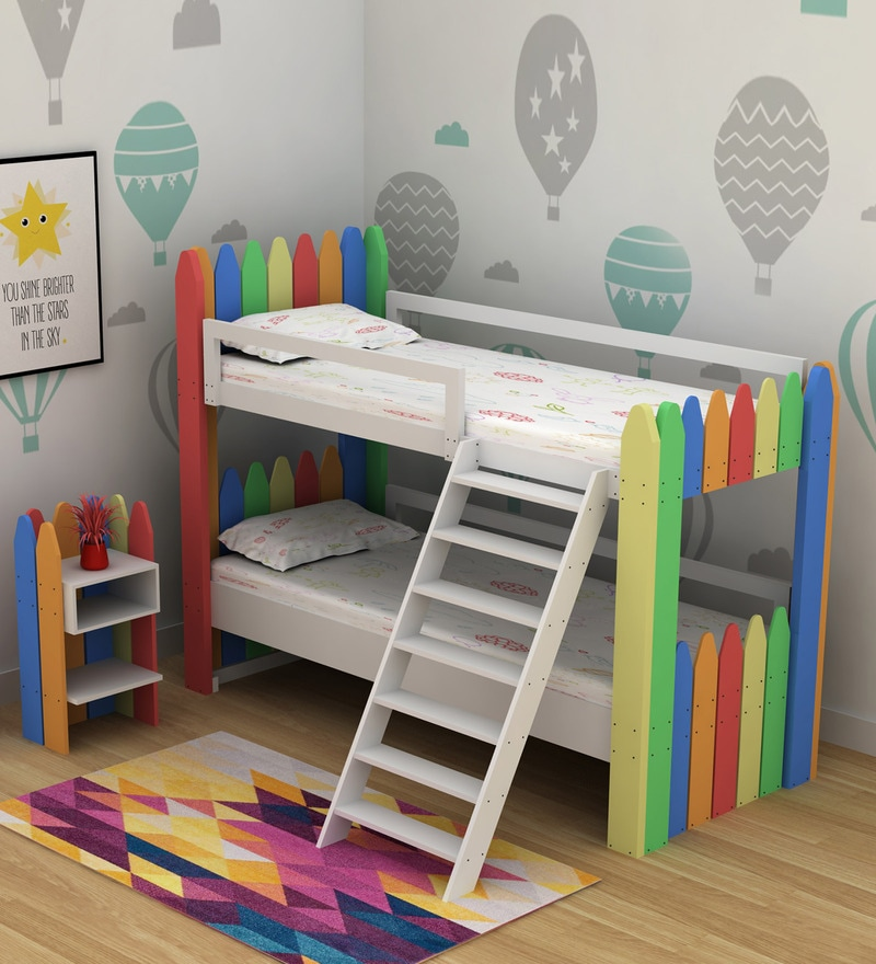 Buy Crayon Birch Wood Bunk Bed Night Stand Casacraft By Pepperfry Online Standard Bunk Beds Bunk Beds Kids Furniture Pepperfry Product
