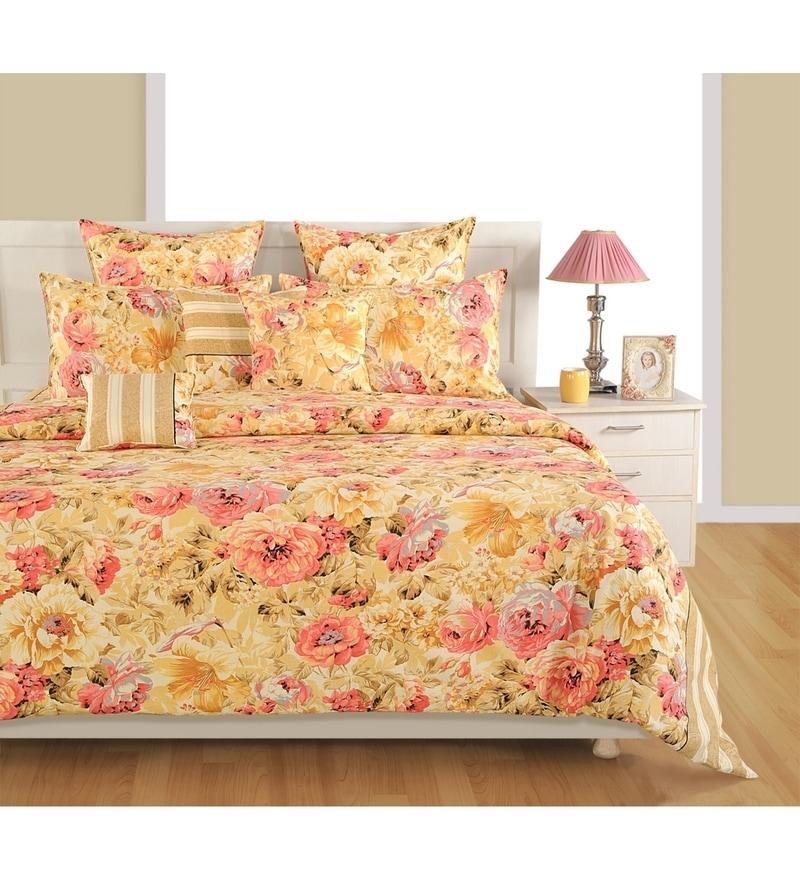Cream Cotton King Size Bedsheet - Set of 3 by Swayam