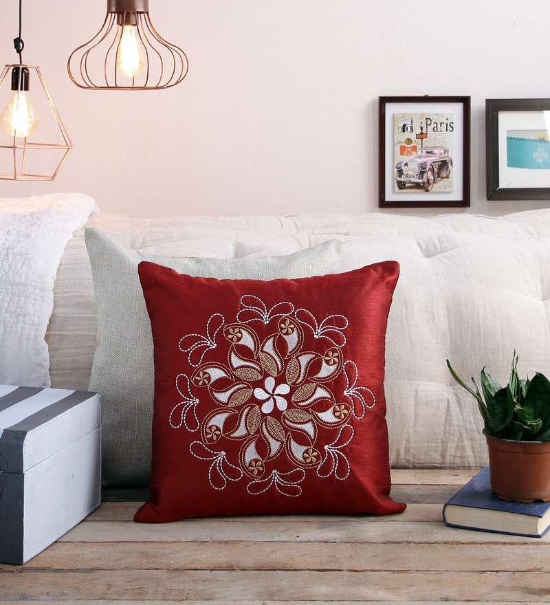 Red Polyester 16 x 16 Inch Embroidery Cushion Cover by Creative Homez