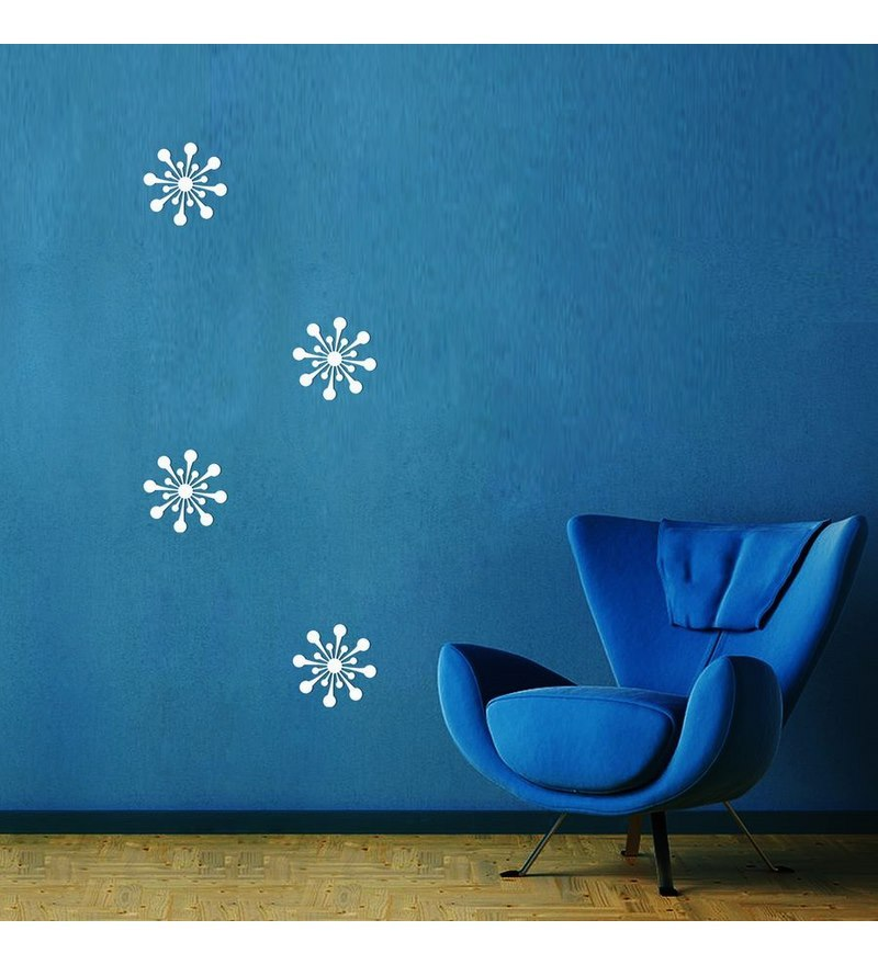 creative width ball flowers acrylic white 3d wall art sticker - 4