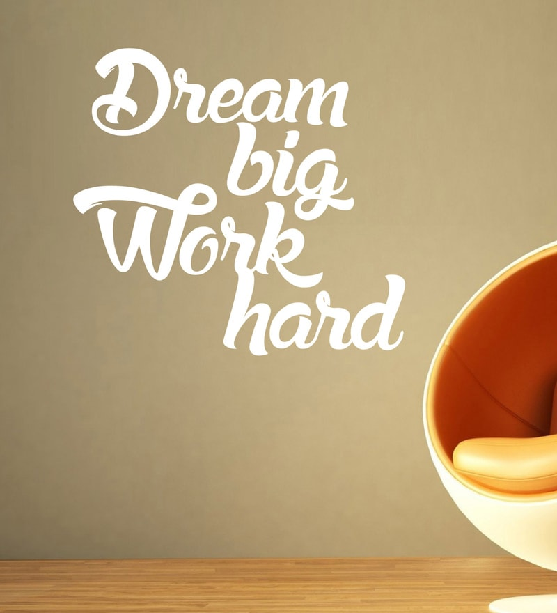 Vinyl Dream Big Work Hard Two Wall Sticker in White by Creative Width