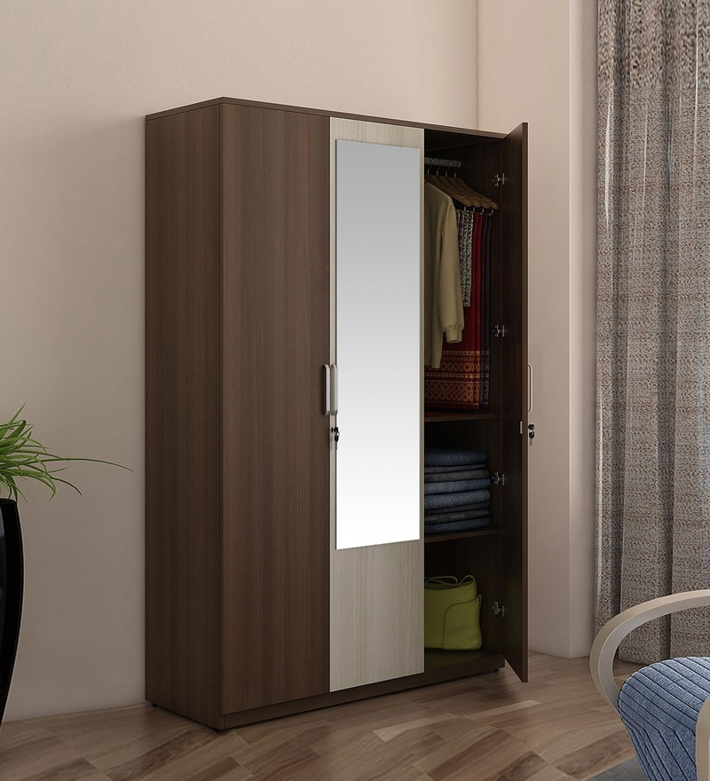 Buy Crescent Three Door Wardrobe With Mirror Amp Drawer In