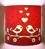 Craftter Pink & White Handmade Paper Love Bird Wall Lamp