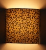 Pretty Flower Design Green Half Shade Fabric Wall Lamp by Craftter