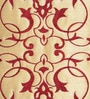 Beige & Maroon Polyester 16 x 16 Inch Embroidery Cushion Cover by Creative Homez