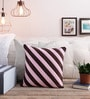 Creative Homez Pink & Brown Polyester 16 x 16 Inch Striped Cushion Cover