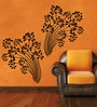 Creative Width Vinyl Beautiful Flowers Wall Sticker in Black