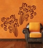 Creative Width Vinyl Beautiful Flowers Wall Sticker in Burgundy