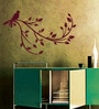 Creative Width Vinyl Bird On A Branch Wall Sticker in Burgundy