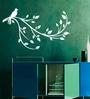 Creative Width Vinyl Bird On A Branch Wall Sticker in White