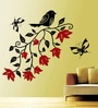 Creative Width Vinyl Bird with Flowers Wall Sticker in Black & Red
